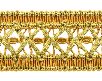 Vintage 1.5 Inch (3.8cm) Wide Medium And Light Gold Gimp Braid Trim - Golden Rays 4875 (sold by The Yard)