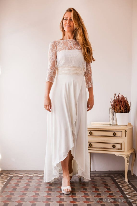 High low wedding skirt bridal skirt high low ivory high low