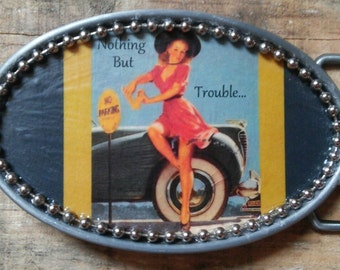 NOTHING BUT TROUBLE Pin-Up Pin Up Burlesque Rockabilly Girl Belt Buckle w/ Silver Bead Detail. Handmade w/ metal buckle and one-of-a-kind!!!