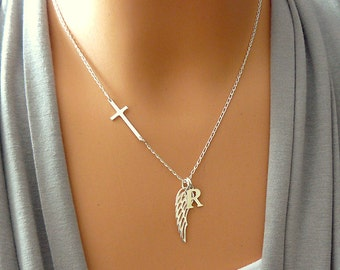 Personalized Angel Wing Necklace - Sideways Cross - Memorial Necklace - Remembrance Necklace Rememberance Jewelry - Sterling Silver