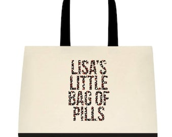 The Real Housewives of Beverly Hills Lisa Rinna RHOBH inspired Lisa's Little Bag of Pills - Funny Two Tone Large Tote Bag