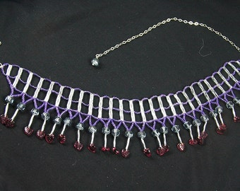 Lilac cathedral bead and leaf ladder stitch adjustable necklace