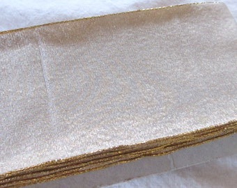 extra wide, wired METALLIC GOLD RIBBON  --3 inch-- 43 inches (just over 1 yard)
