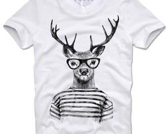 DOPEHOUSE T-Shirt Hipster Stag Hirsch Deer Geek Nerd Glasses Swag Dope Blogger
