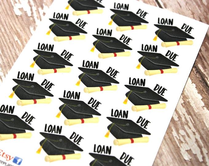Student Loan Planner stickers - Loan Planner stickers - Loan due stickers - fits Happy Planner - Fits Erin Condren - Student Loan Due