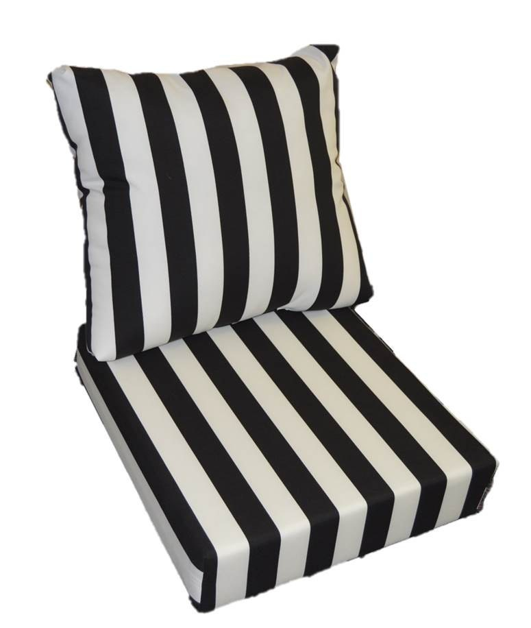 Patio Furniture Cushions White: Black & White Stripe Cushion For Outdoor Deep Seat Furniture