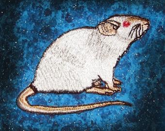 Fancy Dumbo Ear Cream Siamese Rat Steam Punk  Iron on Patch