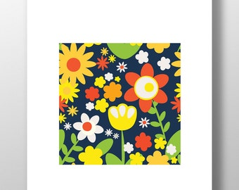 Summer Botanicals Print - Retro Vintage Flowers Unframed