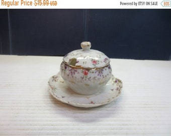 Whole Shop on Sale Hand-Painted Mustard or Jam Pot with Attached Underplate