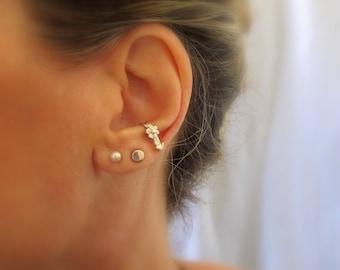 Sterling silver SINGLE suspender earring, Ear suspender, Ear cuff, Minimalist earring, Flower earring