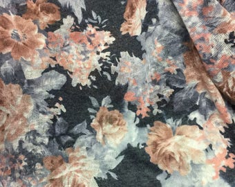 Sweater Knit Fabric 1-5/8 Yard Floral Pattern
