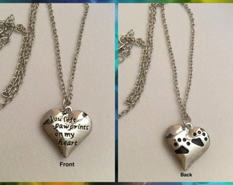 You Left Paw Prints On My Heart  Memorial Necklace