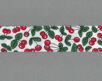 Red cherries bias by the meter, 100% cotton