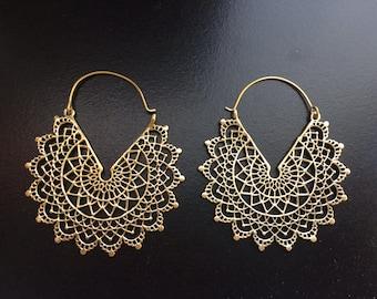 Mandala earrings-Half moon earrings- Tribal earrings-Antique Finish -Tribal Jewelry -Turkmen Tribal Jewelry-Ornate Hoop Earrings AEC228G