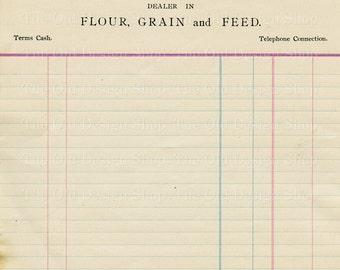 Vintage Accounting Ledger Page Printable Ephemera Brigham Flour Grain and Feed Invoice Digital Download JPG
