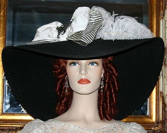 "Black & White Kentucky Derby Hat, Ascot Hat, Edwardian Hat, Titanic Hat Tea Party Hat 24"" Wide Brim Hat - Triple Crown"