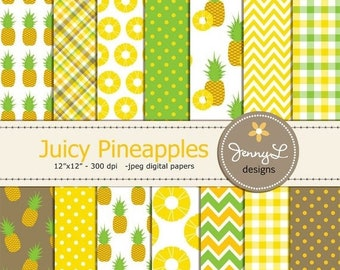 50% OFF Pineapple Digital Papers, Aloha Hawaiian Birthday Party, Summer Fruit, Wedding for Scrapbooking, Invitations