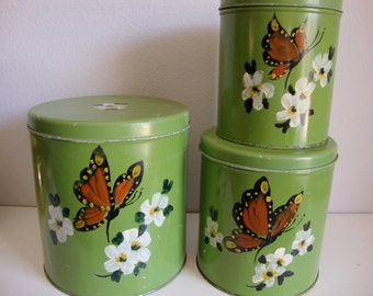 Cannister Set of Nested Tins, 3 Nested Tins Food Storage Tins, Floral Decoration, Made by ballonoff in Ohio USA