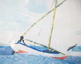 Signed Sailboat Watercolor Art, Vintage Framed Painting, Ocean Sea Nautical Art Print, Boat Watercolor Painting, 1995
