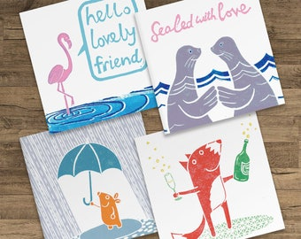 4 Set Pack of Cute Animal Blank Greeting Cards - Foxy celebration bubbles, Sealed with Love, Hello Lovely Friend, rainy day happy mole