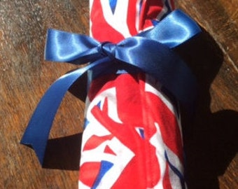 Hand Made Union Jack Quilted Pencil Roll-up.Pencil Organizer.Travel Pencil RollPencils Included.Patchwork. Pencil Case.