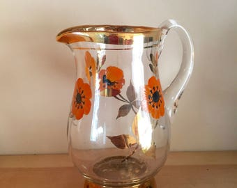 Bohemian Glass Jug Creamer Pitcher with Hand Painted Orange Red Poppies and Gilded Edges Retro