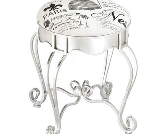 Pretty in Paris metal stool, white
