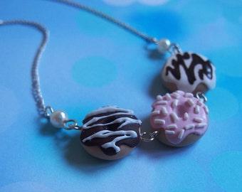 Collana ciambella (ciambella ciambella cioccolato cibo collana polimero argilla regalo della collana per suo cibo divertente gioielli bigiotteria)