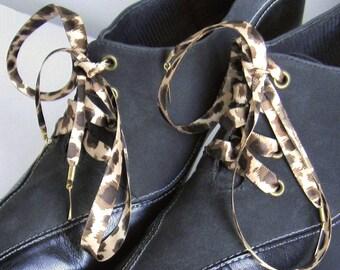 """THE SHOELACES SHOP-Leopard Print Satin Ribbon Shoelaces, Shoe Laces, Satin Shoelaces, Animal Print Shoelaces, Shoestrings, """"Wild Child"""""""