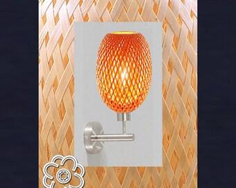 Wall lamp in bamboo (pair) - O 14.5 cm x L 30 cm, Asian lamp, lamp Vietnamese, rattan applique applied braided