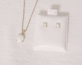 Australian Opals, Jewelry Set, White Opals, Necklace Earrings, Opal Jewelry, Genuine Opals