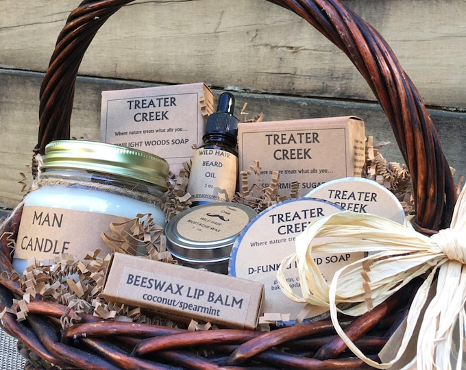 Man Gift Basket - Mustache - Beard - Wild Hair Groomers - Man Candle