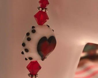 Murano Glass Heart Earrings * Swarovski Crystal and Glass Earrings * Glass Red White Black Drop Earrings * Valentine's Earrings