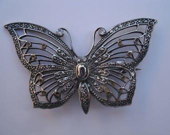 Vintage Sterling Silver Butterfly Brooch - 2 1/2 Inch Wingspan - Butterfly Pin