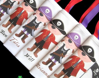 Pirate party pirate birthday party sea captain pirates birthday party favors tote bags personalized for boys and girls