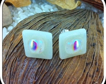 Fused Glass Earrings Sterling Silver Stud Posts  - Opaque Ivory White with Iridecent Textured Dichroic Cabochons - 11mm Square - Gift Boxed