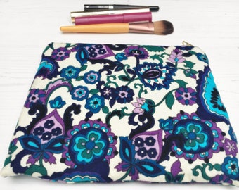 Ultraviolet & blue vintage paisley cotton accessories bag travel padded make up bag gift for her by The Emperor's Old Clothes