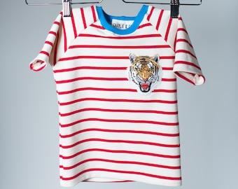 Red+ White Stripy Tiger Shirt