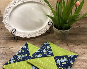 Farmhouse blue and green hot pads
