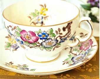 Adderley Brown Floral Teacup and Saucer Fine Bone China England