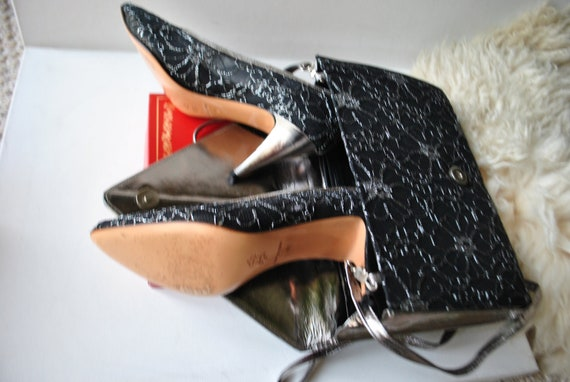 Made vintage Garolini heels in by silver 7M size with a 80s lace matching Italy envelope Luxurious style clotch gwqABA