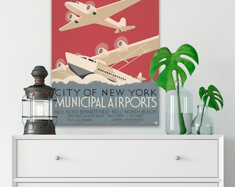 CANVAS WPA Poster, New York Travel Poster, Airplane Decor, Canvas Artwork, Vintage Art Deco Posters, Retro Posters, Living Room Art (WPA17)