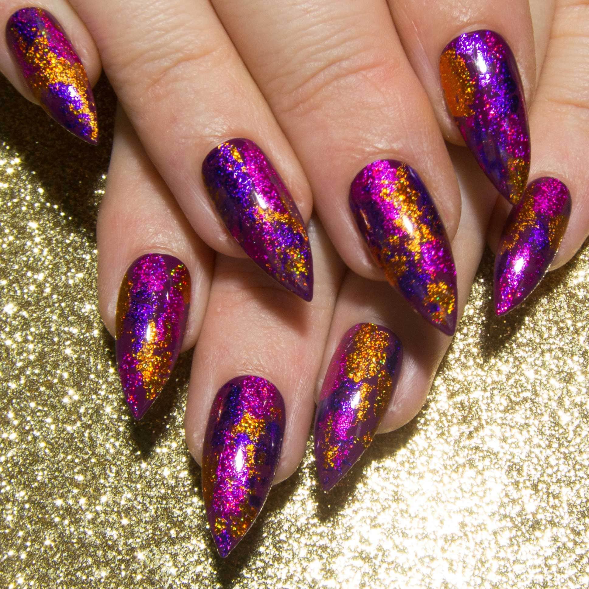 Stiletto-Acryl-Nägel Glitter falsche Nägel Pink Spitzen