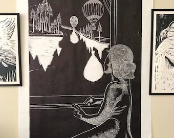 ECLIPSE ENCOUNTER - Original Woodcut Print