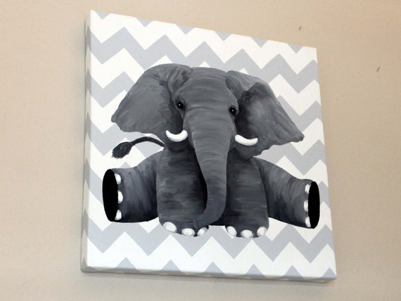 Items Similar To Elephant Oil Painting With Chevron Background
