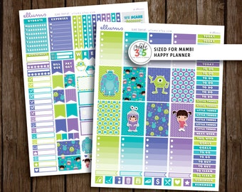 HP Scare Team Weekly Kit   PRINTABLE pdf jpg   Disney™ Monsters Inc Inspired Planner Stickers   fits Mambi Happy Planner   Boo Sulley Mike