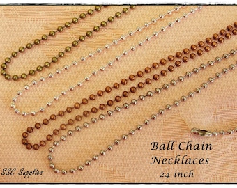 100 Ball Chain Necklaces - 2.4mm, Antique Brass Chain, Silver Chain, Antique Copper Chain, Antique Silver, Jewelry Necklace Chain