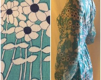 Blue Long Sleeve Floral Dress