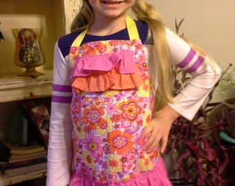 Pink and Yellow Floral Girls Apron with Chef Hat, Floral Child Apron, Girls Birthday Gift, Summery Apron