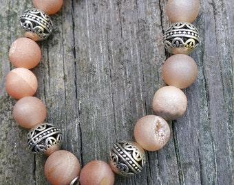 Bohemian, Druzy quartz crystal, seahorse,stacking, beachy bracelet